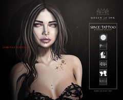 *Queen oF Ink - Space Tattoo [Limited Edition] @L8 (MonaSax95 | Queen oF Ink) Tags: new news newtattoo tattoo ink inked black minimal exclusive limitededition limited woman women female girl photo pic shot picture vendor queenofink secondlife sl event pixel virtual shop shopping fashion style moda cool glamour creative photographer photograpy