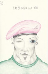 I am so gonna wax you ! (Klaas van den Burg) Tags: soldier barber pink coloredberet pencil humor sarcasm