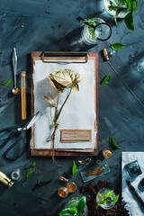 Garden Golden 1 (Dina Belenko) Tags: background botanist botany bottle clipboard concept copyspace countryside cultivate dirt dust eco ecology environment experiment floral fromabove gardener gardening glass gold golden green greenthumb ground growth healthy hobby keeping leaf lifestyle note organic paper plant planting pollen potting saving science season seed spring stone summer tools topview watering work