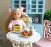 Blue cupboard & fruit pastry (luckyjuliett) Tags: miniaturefood minifood playscale dolllfood16scale dollfood