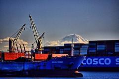 Port of Seattle, Washington (BDM17) Tags: port shipping ship boat barge loading load cranes seattle king washington wa cargo mount rainier stratovolcano volcano mountain glacier snow