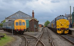 Class 101 DMU to the left, 57007 in the centre background and 37688 & 37424 on the right create a busy scene at Dereham. 01 05 2017 (pnb511) Tags: mnr midnorfolkrailway train engine loco locomotive diesel dmu dieselmultipleunit railcar class101 class37 class57 track station points