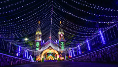 Night church with many lights (phuong.sg@gmail.com) Tags: architecture asia building cathedral catholic christmas church city clock decorations evening fest festival historical holiday holy illuminated illumination landmark lights mary monument name new night old outdoor pedestrian people religion sad square street tourism tourist tower town travel vietnam view walking winter year