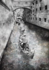 follow me . . . (YvonneRaulston) Tags: europe italy venice day canals gondola hat man people water boat texture atmospheric art arch bokeh creativeartphotography calm colour creative dream desaturated emotive peaceful fineartgrunge figures impressionist italian moody moments mysterious soft sony photoshopartistry surreal vignette