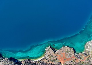 the blue lagoon                                 - an aerial view of the magnificent Ohrid Lake in Macedonia