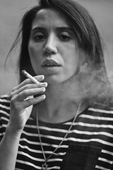 Smokin' (TheJennire) Tags: photography fotografia foto photo canon camera camara colours colores cores light luz young tumblr indie teen blackandwhite people portrait stripes fashion summer summervibes smoking cigarette girl naturallight smoke 50mm 2018
