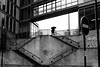 Up the stairs (pascalcolin1) Tags: paris13 homme man escaliers stairs parapluie umbrella photoderue streetview urbanarte noiretblanc blackandwhite photopascalcolin 5omm canon50mm canon