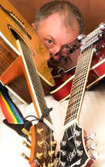 Selfie with guitars 03 (Andy Sut) Tags: selfie andysutton guitars crafter ibanez portrait studio
