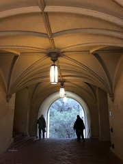 Passage (Melinda Stuart) Tags: passage lights hanging figures winter pavement arch ceiling vaulted vault pendant march morning walking campus university uc california cal lamps lanterns