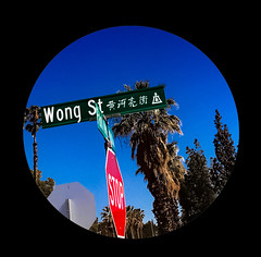 G. Wong (fe2cruz) Tags: california socal southerncalifornia iphone riverside inlandempire street wong chinese palmtrees blue sky