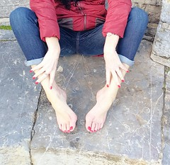 Red (newport50) Tags: rednails barefoot bare sexy sexybarefeet jeans arched erotic cold stone hands fetish foot