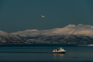 Måneformørkelsen sett fra nordspissen av Tromsøya