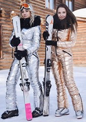 odri suits silver and gold (skisuitguy) Tags: skisuit snowsuit ski snow suit skiing skifashion skiwear skioutfit skibunny snowbunny onepieceskisuit onepiecesuit onesie onepiece skianzug skidress allinone