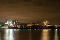 Arco Axe (d0mokun) Tags: river medway night time dramatic long exposure reflections ships port moody skies arco axe dredger chatham england unitedkingdom gb