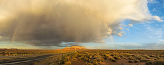 Arizona Road, Showers & Rainbow (FlickrdeChato) Tags: sunset atardecer arizona arcoiris rain lluvia roadtrip rainbow
