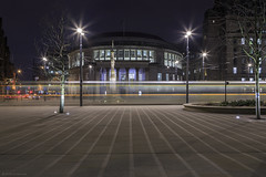 Lines (andyrousephotography) Tags: manchester stpeterssq centrallibrary metrolink interchange trams rushhour lines night dark streetlamps starbursts longexposure