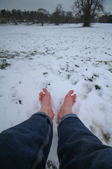 Bare feet in the snow (Phil_Footguy) Tags: barefoot bare feet barefooter barefooting male snow ice winter toes outdoors outside nature freedom england uk