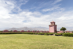 Tacama Bell Tower (_aires_) Tags: aires iris tacama tacamahacienda belltower grass sky clouds tree canoneos5dmarkiv canonef2470mmf28liiusm landscape ica icaperu mountains andes foothills desert vineyard vines grapes wine pisco