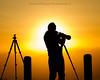 A photographer's silhouette. (Brendinni) Tags: sunrise orange black hills butte steptoebutte wa washington easternwashington tripods camera canonusa canon7d