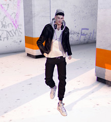 Chilled days.. (MATTY // *OMG*) Tags: sl secondlife men mens blog lotd look outfit new clothing fashion style volthair hair badunicorn beanie gabriel leather jacket ovrsz joggers pants sweats baggy loose street casual valekoer kicks shoeminati sneakers