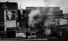 Steam (tokyobogue) Tags: tokyo japan river nikon nikond7100 d7100 tamron tamron1024mmdiiivc arakawa blackandwhite blackwhite monochrome city cityscape factory steam pollution dirty