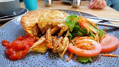 Northcote Point, North Shore, Auckland, New Zealand (Sandy Austin) Tags: panasoniclumixdmcfz70 sandyaustin northshore auckland northisland newzealand cafe billys food pie pork salad tomatoes carrot