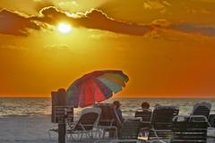 Siesta Key, Florida (Jwaan) Tags: crescentbeach beach siestakey florida sunset umbrella rainbow multicolored clouds ocean gulfofmexico chairs sand