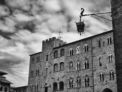 Piazza dei Priori (W@nderluster) Tags: volterra tuscany toscana italia italy travel street square piazza bw blackandwhite monocromo olympus cloudy cloud storm nuvola temporale ciel