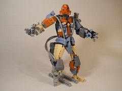 Oros, the Cybernetic Swashbuckler (MySnailEatsPizza) Tags: lego bionicle robot cyber cyborg punch arm rocket doomfist overwatch pirate sea boat custom moc ccbs system trident shock