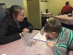 """Paul, Dani, and Mommy Color at Little Italian Pizza • <a style=""""font-size:0.8em;"""" href=""""http://www.flickr.com/photos/109120354@N07/26050337937/"""" target=""""_blank"""">View on Flickr</a>"""