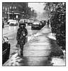 La passante Sans-souci. (francis_bellin) Tags: 2018 olympus noiretblanc monochrome mugdecafé street route streetphoto rue montréal photoderue froid mars neige