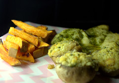 Sweet Potato Chips, Wild Garlic Chicken and Garlic Stuffed Mushrooms (Tony Worrall) Tags: add tag ©2018tonyworrall images photos photograff things uk england food foodie grub eat eaten taste tasty cook cooked iatethis foodporn foodpictures picturesoffood dish dishes menu plate plated made ingrediants nice flavour foodophile x yummy make tasted meal nutritional freshtaste foodstuff cuisine nourishment nutriments provisions ration refreshment store sustenance fare foodstuffs meals snacks bites chow cookery diet eatable fodder sweetpotatochips wildgarlicchickenandgarlicstuffedmushrooms meat fries