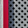 tidy texture trio (MyArtistSoul) Tags: lattice grid crisscross black squareholes grey gray red wood vertical trim texture shadow lines urban square 1342 iphone7