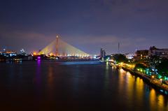 night (ppppup) Tags: bangkok landscape building bridge river riverside