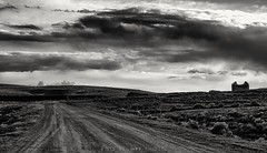 Piedmont ghost town (rolfstumpf) Tags: usa wyoming piedmont sky clouds road ghosttown monochrome sunset unionpacific olympus landscape blackwhite blackandwhite decay dark