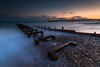 Worthing Pier, Sussex (E_W_Photo) Tags: worthing sussex england uk beach outfall pebble sunset pier groyne clouds bluehour longexposure canon 80d sigma 1020mm leefilters