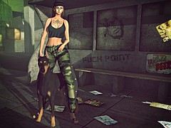 Lady Warrior (kare Karas) Tags: woman lady femme girl girly cute beauty pretty sexy danger dangerous virtual avatar secondlife fun game city urban military outdoors events mesh bento tattoo makeup outfit poses dog warrior ella cnz jumo skinfair2018 pocketgachaevent