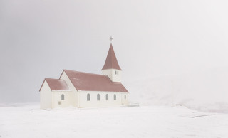Snowstorm, Myrdal Church, Vik, Iceland
