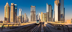 _MG_3462 - Metro in Dubai City (AlexDROP) Tags: 2018 dubai uae travel architecture banner metro skyscraper color city wideangle urban scape canon6d ef16354lis best iconic famous mustsee picturesque postcard goldenhour