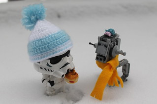It's so cold that little Trooper has put his scarf on his friend
