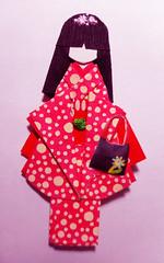 Doll 13 (tengds) Tags: origamidoll japanesepaperdoll handmadedoll paperdoll japanesepaper handmadepaper yuzenwashi washi chiyogami kimono pink circles obi red bag black nailartsticker papecraft tengds