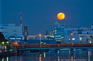 恵比須運河と満月