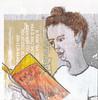 # 278 2018-03-09 (h e r m a n) Tags: herman illustratie tekening 10x10cm tegeltje drawing illustration karton carton cardboard kunst art lezer lezen read reading reader boek book boekenweek 2018 vrouw woman
