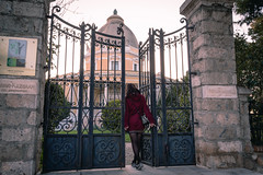 mansion (giorgosAnk) Tags: villa mansion kazouli explore architecture athens greece sunset bricks people woman coat red tree bars gate door outdoor