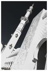 Sheihk Zayed Mosque (posterboy2007) Tags: sheihkzayedmosque mosque minaret arch muslim religion bw uae abudhabi