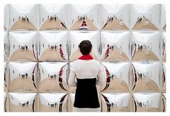 Looking at art (leo.roos) Tags: sparksparkspark 2004 johnarmleder reflection weerspiegeling museumvoorlinden wassenaar a7s m42 pentaconauto5018multicoating meyeroreston5018 darosa leoroos stageofbeing