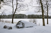 Waiting for the Spring (pedalpusher139) Tags: snow winter frozen landscape lake ice frozenlake crayfishtrap rowingboat frozenlandscape sweden