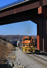 Coming into Butler (GLC 392) Tags: route 8 bridge highway harmony btnc buffalo pittsburgh pa pennsylvania new castle emd sd45 gp40 458 bprr 302 allegheny railroad railway train tree aly sd452 city sky car locomotive