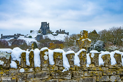 Corfe Castle (christian_lawrence) Tags: castle snow wall cemetery dorset