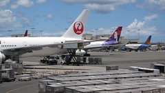 Cargo Loadup (PDX Bailey) Tags: airplane plane sky hawaii honolulu container cargo load loading tail airline aviation blue cloud